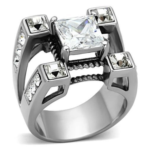 Doublebeez Jewelry Men's Stainless Steel Clear Square Large Cubic Zirconia Split Band Ring, Size ()
