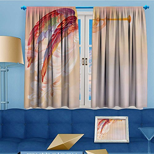 SCOCICI1588 Thermal Weaved Blackout Curtain,Pure Angel Saint Raphael with His Flask Wings Prayer Protecti Holy Hope Room Darkening & Noise Reduction Fabric - Premium Draperies,108''W By 63''L Pair by SCOCICI1588