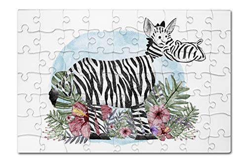 Zebra - Ferns and Flowers - Whimsical Watercolor (8x12 Premium Acrylic Puzzle, 63 Pieces) ()