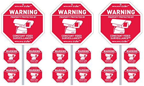 3 Security Camera Yard Signs on Posts & Dozen CCTV Security System Stickers wow!