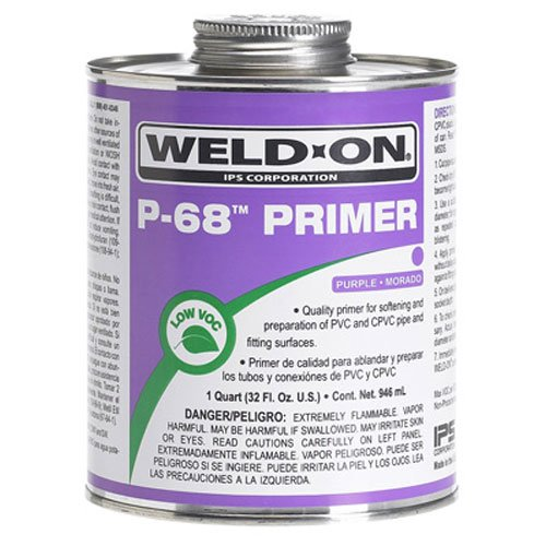 Primer Pvc (Weldon 10214 Purple P-68 Primer for PVC and CPVC Pipes, Non-Bodied, Fast Acting Primer, 1/2 pint with Applicator Cap)
