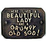'Blackboard with Short Funny Beautiful Lady–Grumpy Old Sod (Beautiful Women–Muffiger Age Guy) Garden Ornament