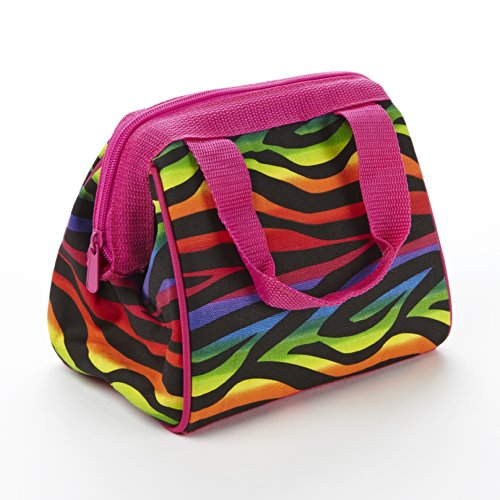 Fit & Fresh Kids' Riley Insulated Lunch Bag with Zipper, Cute School Lunch Box for Girls, Rainbow Zebra (Rainbow Kids Bag)