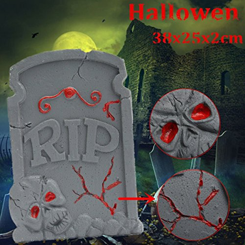 Bazaar 38x25cm Halloween Foam Skeleton Tombstone Haunted House RIP Stone Grisly Props Party ()