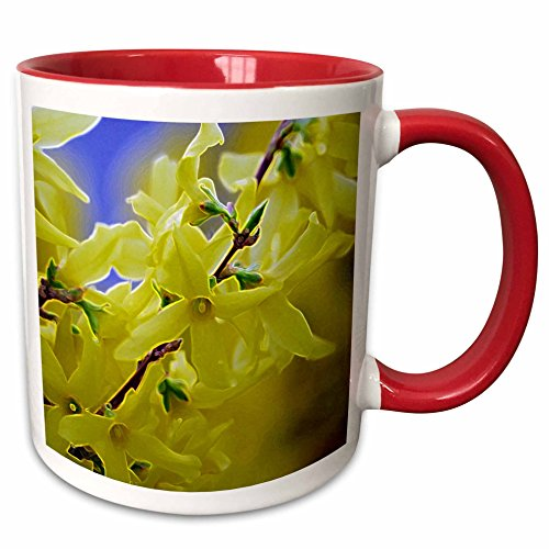 3dRose Jos Fauxtographee- Accented Edges Yellow Floral - Yellow flowers on a tree that have had edges accented - 11oz Two-Tone Red Mug (2 Tone Red Coffee Mug)