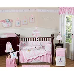 Sweet Jojo Designs Ballet Dancer Ballerina Pink and white Baby Girl Bedding 9 piece Crib Set
