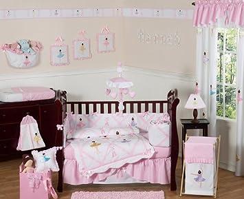 sweet jojo designs 9 piece ballet dancer ballerina pink and white baby girl bedding crib - Baby Girl Bedding Sets