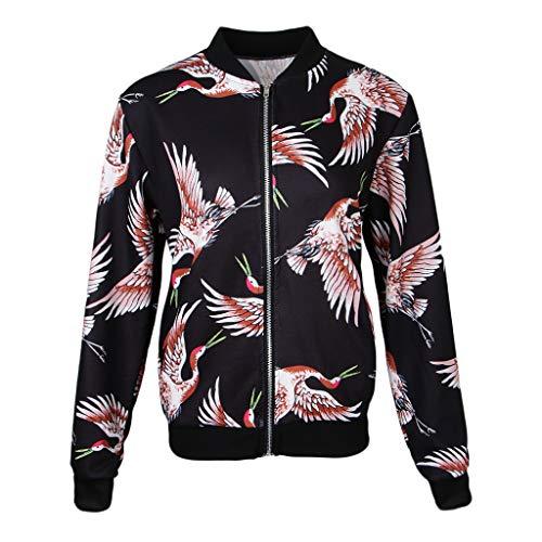 Mujer Sensación F Abrigo Chaqueta Suave Floral Collar Cómoda 2 De Pájaros Negros Impresa Bombardero Fityle Elegante HHf4gqY