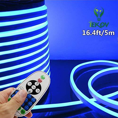 LED NEON Light, IEKOVTM AC 110-120V Flexible LED Neon Strip Lights, 120 LEDs/M, Waterproof 2835 SMD LED Rope Light + Controller Power Cord for Home Decoration (16.4ft/5m, Blue)