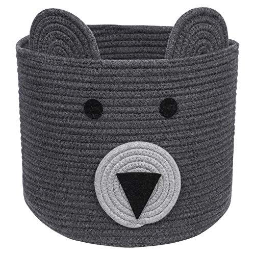 CherryNow Bear Basket, Cotton Rope Basket, Woven Laundry Hamper, Cute Storage Bin in Bedroom, Nursery & Living Room, 10