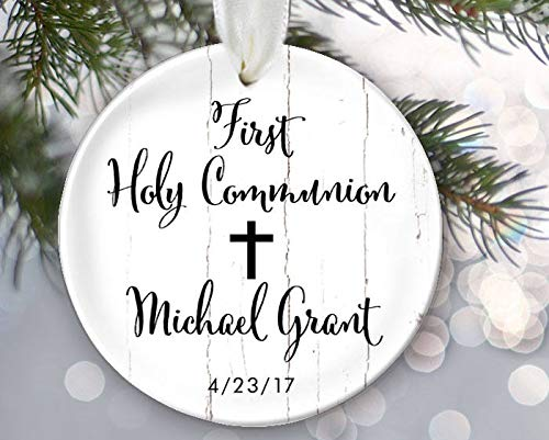 - Georgia Barnard First Communion Ornament, Personalized Christmas Ornament for First Holy Communion Porcelain Ceramic Ornament