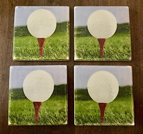 Golf Ball Vintage Look Coasters Set of Four