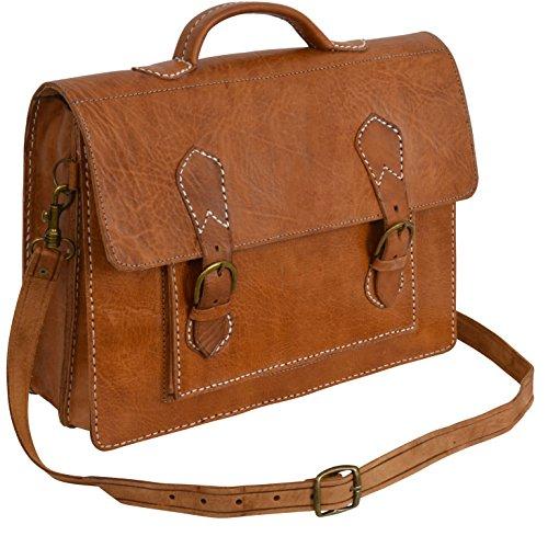 """Gusti Cuir nature """"Thomas"""" cartable en cuir sac notebook sac bandoulière sac porté épaule sacoche business homme femme cuir de vachette marron B9"""