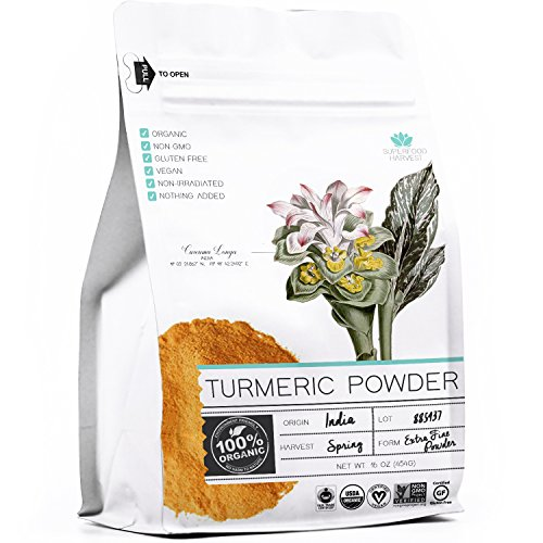 Organic Turmeric Root Powder by Superfood Harvest - 1 Pound - 100% USDA Organic, Certified Non GMO, Grade AAA Highest Quality, Fine Ground by Superfood Harvest