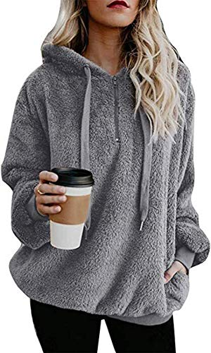 SVALIY Womens Fuzzy Fleece Loose Open Front Hooded Cardigan Coats Outwear Pockets by SVALIY (Image #1)