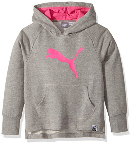 PUMA Little Girls' Cat Hoodie, Medium Gray Heather, 6 by PUMA