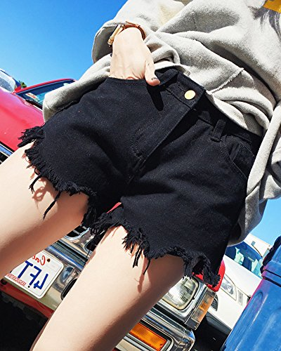 Jeans Vita Con Nero Tasche Denim Distressed Retrò Donna Corti Alta Pantaloncini Shorts qt55BH