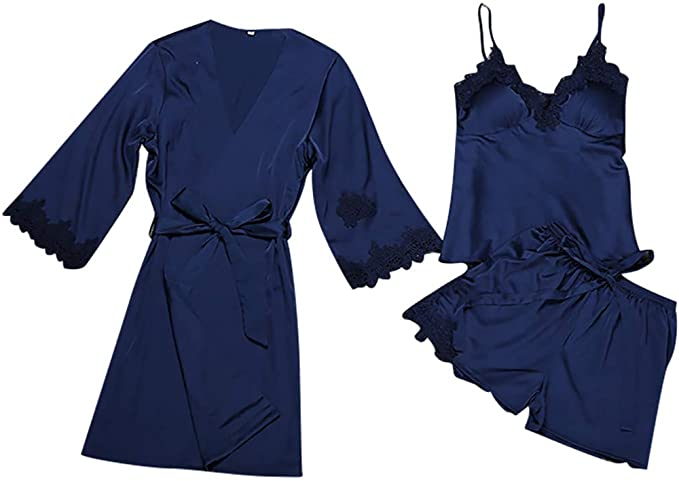 AIni Pijamas De Mujer Conjunto De 3 Piezas De Tirantes Cortos ...