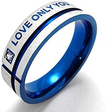 Ameesi Unisex Blue Love Only You Cross Titanium Steel Engagement Wedding Band Ring