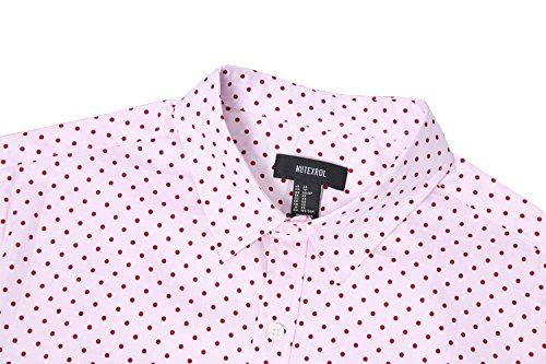 NUTEXROL Men's Casual Cotton Polka Dots Long Sleeve Dress Shirts(Pink,2XL)