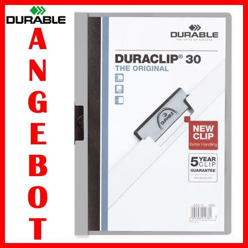 DURABLE DURABLE DURABLE Duraclip Cliphefter Klemmmappen 30 Stück in GRAU f804db