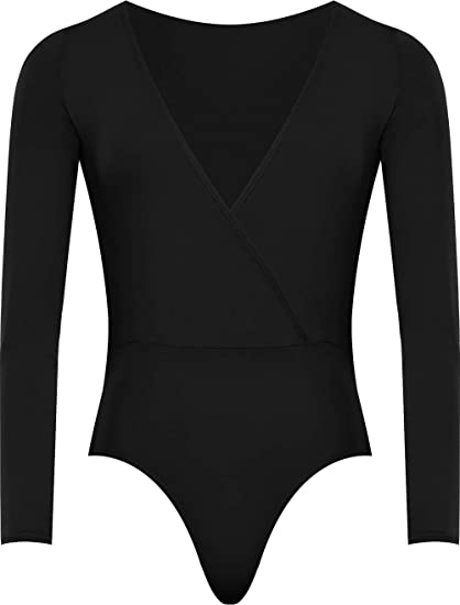 51298e05c75 WearAll Plus Size Women s Wrap V Neck Long Sleeve Bodysuit Top - Black - US  12
