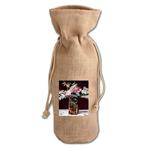 Still Life, Vase With Peonies (Manet) Jute Burlap Burlap Wine Drawstring Bag (Peony Life Still)