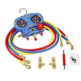 digital ac gauges r22 r134 r410a - Triple Tree Brass R410a Manifold Gauge Set with 5ft 1/4 Hose for R410a R22 R134a R404a, One Set Does It All HVAC Professional Charging Diagnosis Recovery Service Tool Kit Newer Design