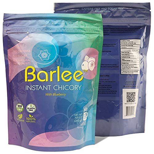 Barlee – Coffee Alternative Beverage Blend (Instant Coffee Substitute), chicory root with blueberry, Pack of 2 (14.10 oz…