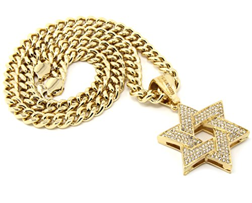 Large Star Of David Pendant - Mens Gold Plated Iced Out Hip Hop Star of David Pendant 36