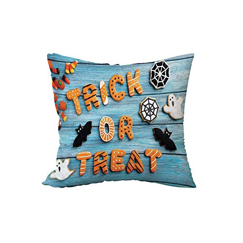 iPrint Polyester Throw Pillow Cushion,Vintage Halloween,Trick or Treat Cookie Wooden Table Ghost Bat Web Halloween,Blue Amber Multicolor,15.7x15.7Inches,for Sofa Bedroom Car Decorate ()