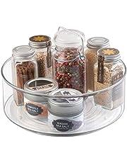 mDesign - Draaiplateau - carrousel/kruidenrek - ideale opberger in de keuken voor spijsolie, kruiden, specerijen, flesjes blikken en potjes - diep/plastic - doorzichtig