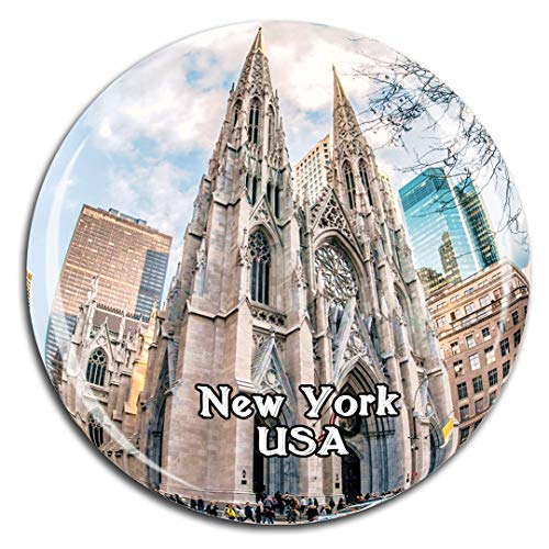 St. Patrick's Cathedral New York America USA Fridge Magnet 3D Crystal Glass Tourist City Travel Souvenir Collection Gift Strong Refrigerator Sticker