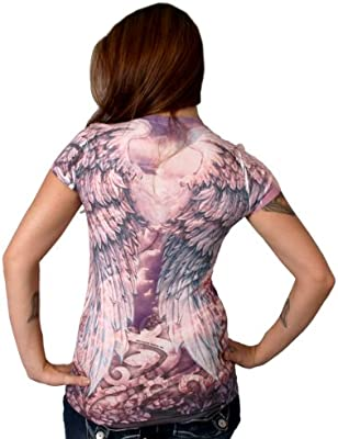 Hot Leathers Womens Angel Wings Sublimation T-Shirt GLC1093 MULTI; 2XL Multicolor, XX-Large