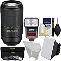 Nikon 70-300mm f/4.5-5.6E VR AF-P ED Zoom-Nikkor Lens with 3 UV/CPL/ND8 Filters + iTTL Flash + Soft Box + Reflector + Kit
