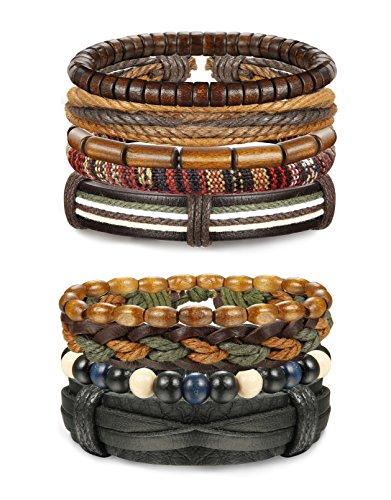 Udalyn 9PCS Leather Bracelets for Men Wooden Bead Bangles Braided Bracelet Sets Adjustable -