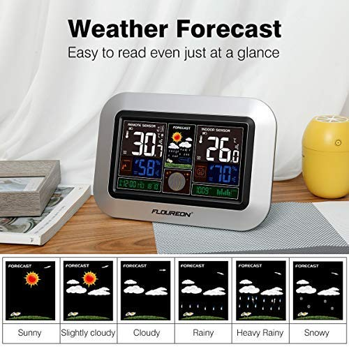 Weather Forecast Station,Digital Home Weather Station with Morning Noon and Night Precision Forecast, In/Outdoor Temperature and Humidity Gauge Calendar Weather Forecaster Snooze Alarm Clock -Sliver
