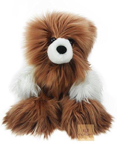 Authentic Premium Baby Alpaca Suri Fur Teddy Bear- Handmade Alpaca Fur Stuffed Bear -Made in Peru (17 IN (hide to hide)) Baby Suri Alpaca