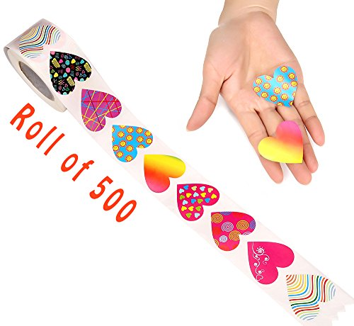 Moon Boat 500 PCS Valentines Day Heart Stickers Labels Roll - Party Decorations Favors Gifts Supplies