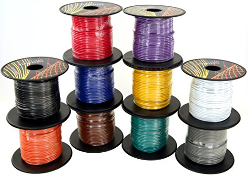 , 10 Rolls of 100 Feet (total of 1000 ft) Car Audio Video Primary Remote Turn on Hook up Trailer Wire (Cable Set Color: Black Red Blue Green Brown Orange Grey Purple White Yellow) (14 Ga Electric Fence Wire)