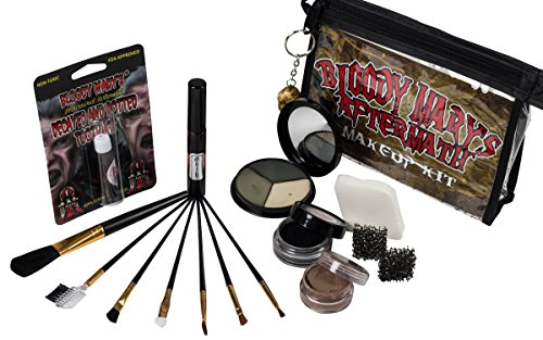 The Aftermath Zombie Starter Makeup Kit By Bloody Mary - Professional Special Effects Supplies - Tri Color Foundation Wheel, Eyeshadow, Tooth Decay, Rotted Teeth, FX Blood, Eyeliner, Sponges, Brushes