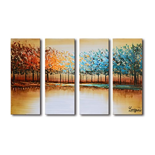 Large Wall Art for Living Room Modern 100% Hand Painted Framed Forest Oil Painting on Canvas Tree Landscape Artwork Brown and Blue for Home Bedroom Office Decor 4 Piece 28x48inch