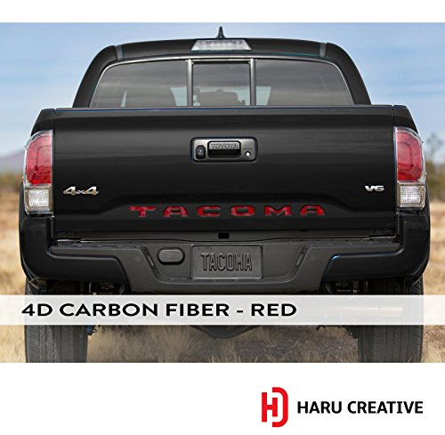 Haru Creative - Rear Trunk Tailgate Letter Insert Decal Sticker Compatible with and Fits Toyota Tacoma 2016 2017 2018 2019-4D Carbon Fiber Red