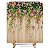 Pink and Green Shower Curtain Riyidecor Pink and Green Herbs Shower Curtain Weighted Hem Blossoms Flowers Ivy Floral Weed Decor Fabric Set Polyester Waterproof Fabric 72x72 Inch Free 12-Pack Plastic Hooks