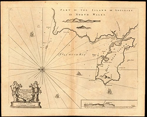 'Holy-Head' sea chart. Holy Island & HOLYHEAD, Anglesey. Capt. COLLINS - c1774 - old map - antique map - vintage map - Wales maps