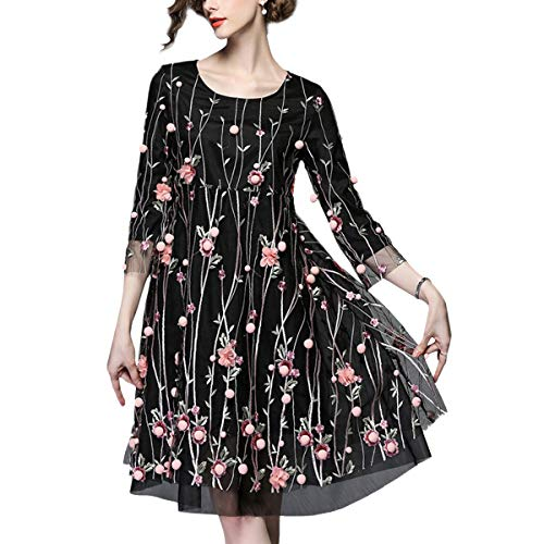 Floral Black Vestido Elegante Mini De Encaje Manga La Mujer A line qUwvftxSv