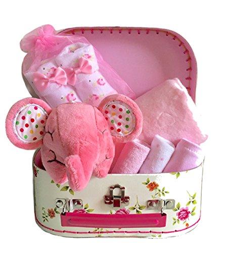 Cesta de regalo para recién nacido, diseño floral, color rosa ...