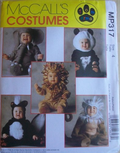 McCall's MP317 Children's Panda, Skunk, Elephant, Monkey, Lion Costume, Size 4