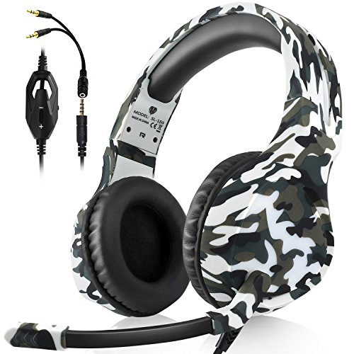 (Gaming Headset for PS4 PC Xbox One Mac Laptop Nintendo Switch Games 3.5 mm Volume Control Stereo Gaming Headphone Over Ear with Mic (White Camo))