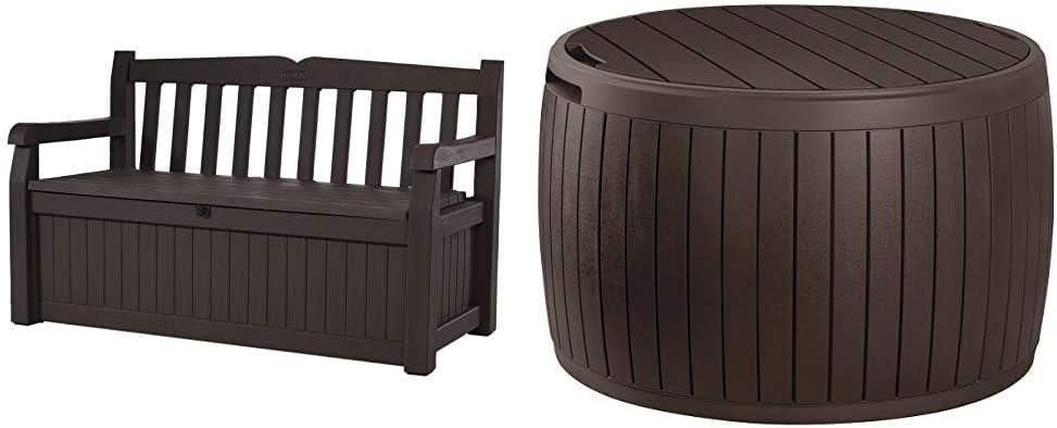 Keter Eden 70 Gallon Storage Bench Deck Box for Patio Furniture, Front Porch Decor and Outdoor Seating,Brown/Brown & Circa 37 Gallon Round Deck Box, Patio Table for Outdoor Cushion Storage, Brown